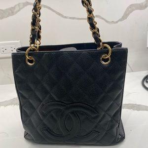 Chanel black shopping tote bag